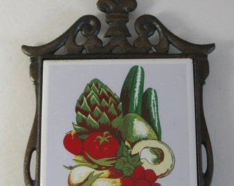 Trivet, Vintage Kitchen Trivet, Vegetable Ceramic Tile, Cast Iron