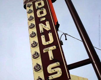 Neon Sign Photo - Donut Drive-In Missouri Sign 8x10 Documentary Photo - Retro Americana Artwork - Route 66 Photography - Do-Nut Drop