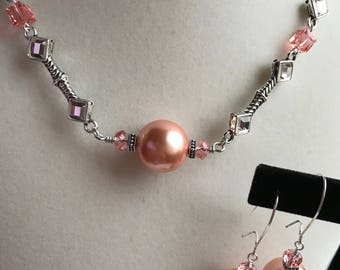 Peach Choker and Matching Earrings, Swarovski Rose Peach Pearl and Crystal, Rhinestone Bar Links, Art Deco, Gift for Her, gift under 30