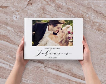 Photo Wedding Guest Book Photo Guestbook Calligraphy Guest book w/ Your Picture Custom Wedding Album Personalized Wedding Book 80-100 pages