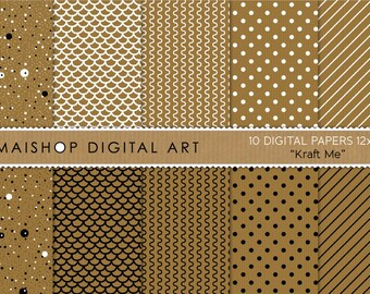 Digital Paper 'Kraft Me' Brown, White and Black Printable Digital Sheets for Scrapbook, Cards, Invites, Tags, Bookmarks...