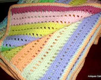 Vintage Striped Afghan, Blanket, Throw, Cottage or Farm Decor, Spring Colors, Yellow, Peach, Pink, Green, Purple,   (682-13)
