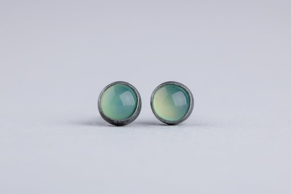 Lime Green Chrysoprase Gemstone Post Stud Earrings in Oxidized Black Sterling Silver - Tiny 4mm Green Earrings - Bright Green Earrings