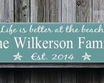 Personalized Beach House Sign,Life Is Better At The Beach,Beach Sign,Beach Theme,Family Name Sign with Established Date,Cabin Cottage Farm