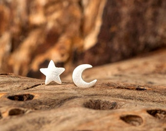 Extra Tiny Moon and Star Earring Star Stud Sterling Silver Celestial Earrings Crescent Moon Star minimal earrings Gift for her