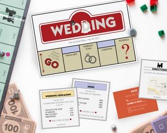 Monopoly Wedding Invitation, Wedding invitation, Monopoly, Board Game Wedding Invitation,Wedding, Wedding Board Game Invitations