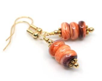 Orange earrings for gift, shell earrings, summer earrings, Mothers day gift