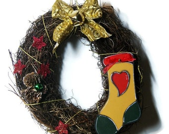 Christmas wreath with yellow christmas sock - Christmas wreath Christmas - Wreath of twigs with Christmas decorations