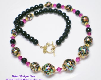 Midnight Passions Tensha Bead Necklace in Black, Fucshia,Turquoise and Gold w/ Free Matching Earrings