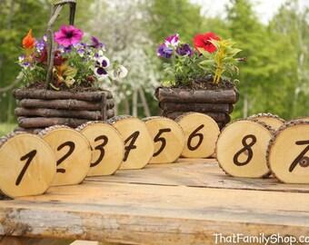 Rustic Wedding Burned Log Table Numbers Wood Bark Country Decor