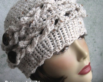 Crochet Hat Pattern Womens Or Teen Crochet Hat With Braid And Button Trim Original Pattern by Kalliedesigns Multi- Sized Instant Download
