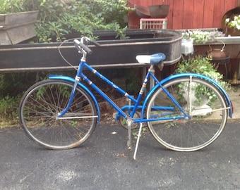 Vintage schwinn bicycle, girls , bike, 1960s, sixties, yard ornament, garden art