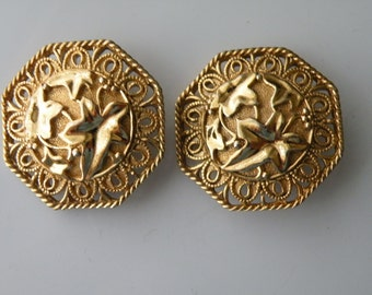 Jose Maria Barrera for Avon Spanish style clip on earrings. 1989