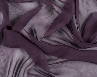 "45"" Wide 100% Silk Chiffon Aubergine Purple By the Yard (5000M160)"