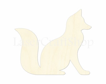 "2"" - 34"" Fox Wooden Cutout Shape, Silhouette, Gift Tags Ornaments Laser Cut Birch Wood  #1095"