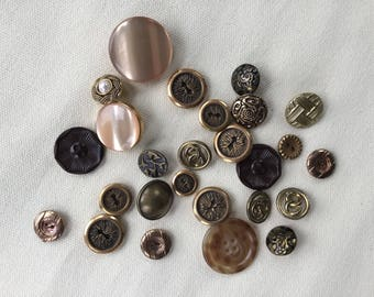 Vintage Buttons Lot - Brown - Button Bib Necklace Lot - 021