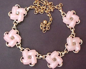 1950s Pale Pink Thermoset Moonglow Necklace flower rhinestone gray vintage mid century