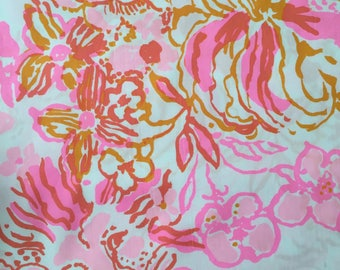 """happiness is poplin cotton fabric square 17""""x17"""" ~ lilly pulitzer"""