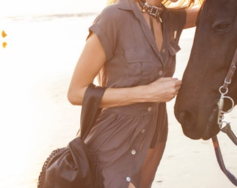 BOHO FALL. Fringe leather bag / black leather wristlet / leather purse / leather pouch / small purse. Available in different leather colors.