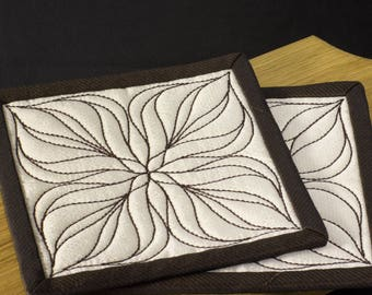 Fabric Drink Coasters. Quilted  Drink Coasters set of 2