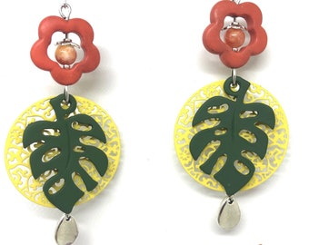 Earrings leaves and flower orange, yellow and khaki. FREE shipping