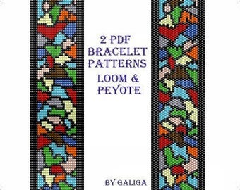 Stained glass pattern Beading pattern Peyote bracelet patterns Loom beading Instant download Pdf pattern Rainbow pattern Beaded pattern