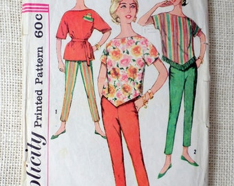 Simplicity 3703 Bust 32 size 12 Vintage pattern Cigarette pants 1960s Toreador patio set Mexican tunic sombrero fringe side zipper