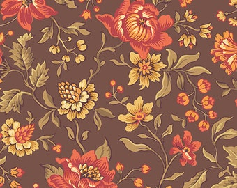 Isabella Fabric - Half Yard - Jo Morton - Chocolate Brown With Large Scale Flowers Floral Design Quilting Fabric Andover - A-7940-N