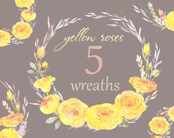 Yellow Roses Wreath Commercial use Clipart yellow flower floral boho digital graphic clip art autumn summer pink purple gray gentle wedding