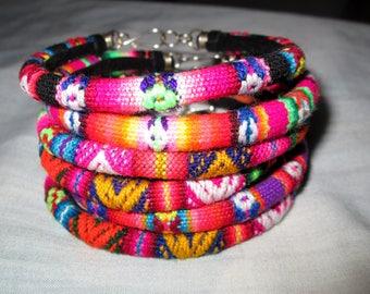 Wholesale Lot 5  Peruvian fabric textile Bracelets Rainbow Colors Handmade Peru