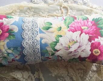 Paris marché aux puces oreiller Vintage bleu roses Roses Barkcloth dentelle de Venise toile à matelas de Style Shabby Chic Français ferme de bande chalet romantique