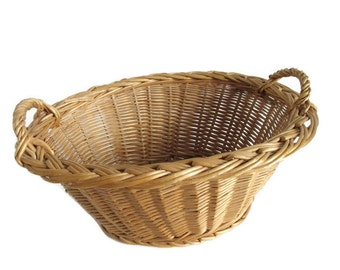 Wicker Laundry Basket Small Size French Country Farmhouse Chic