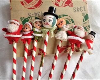 Vintage Christmas Candy Cane Stripe Pencil Lot with Figures 7 Pencils