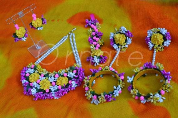 Flower Jewellery For Mehndi Uk : Handmade floral jewellery set for mehndi haldi bride