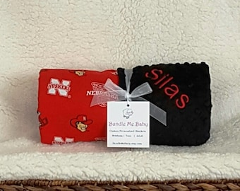 Nebraska Baby Blanket Name Minky Cornhuskers Blanket Football Basketball PERSONALIZED Baby Boy and Girl Gift