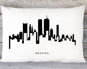 Boston Skyline Pillow Cover - Boston Cityscape Throw Pillow Cover - Modern Black and White Lumbar Pillow - By Aldari Home