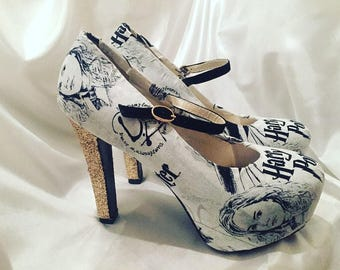 Harry Potter shoes - Custom High Heels - Mary Janes