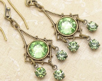 Petite Chandelier Earrings with Peridot Green Swarovski Crystal Rhinestones