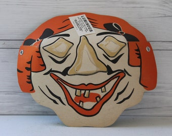 Vintage Paper Masklite Witch Mask Old Lady Halloween