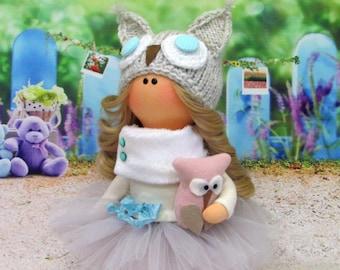 Tiny Tot Poppy-Textile Doll-Fabric Doll-Rag Doll-Home Decoration-Interior. Interior textile doll