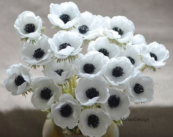 White anemone etsy solid black center anemones real touch flowers centerpieces decorative flowers mightylinksfo