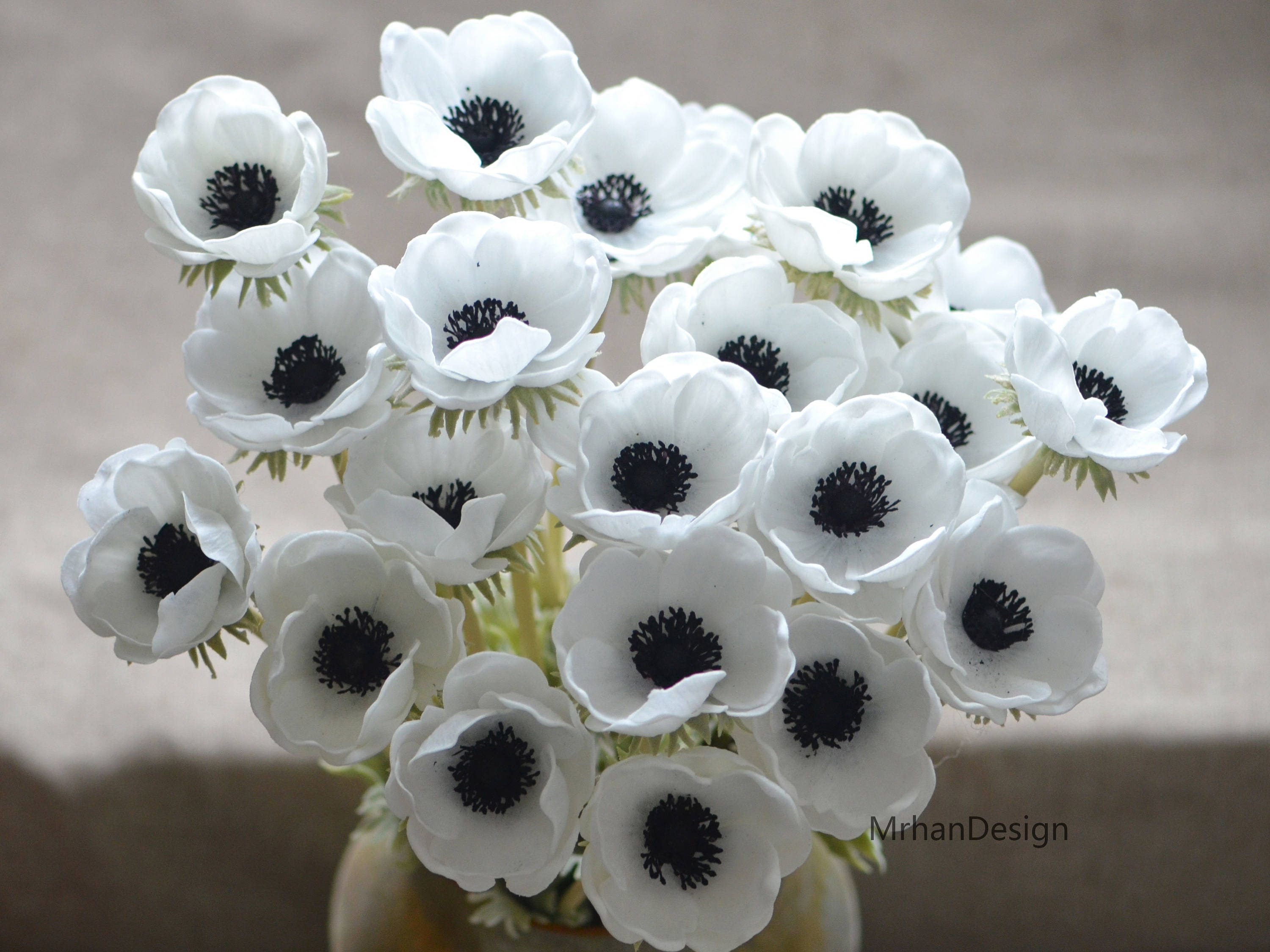 Solid Black Center Anemones Real Touch Flowers Centerpieces