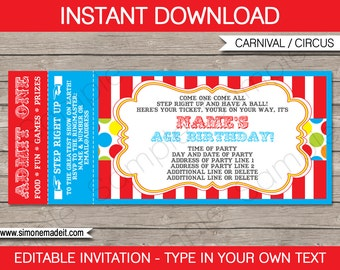 Carnival Ticket Invitation Template - Carnival Party - Circus Party - INSTANT DOWNLOAD with EDITABLE text - you personalize at home
