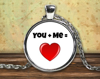 You Plus Me, You Complete Me, You And Me Forever, Me To You or Will You Marry Me Charm Necklace Is A Perfect Statement Necklace Gift For Her