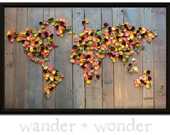 Artsy world maps for those who like to by wanderwonderworldmap large artistic world map on canvas or pin board dried rose petals on recycled palette gumiabroncs Images