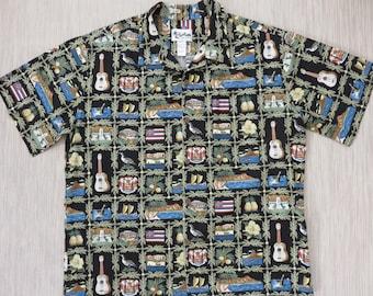Hawaiian Shirt HOWIE Patriotic Hawaii State Landmarks Ukulele Aloha Shirt 100% Cotton Black Vintage Camp Mens - 3XL - Oahu Lew's Shirt Shack