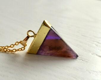 Dark purple amethyst Triangle necklace Pendant necklace Purple and gold jewelry Geometric necklace Gemsones necklace Purple amethyst jewelry