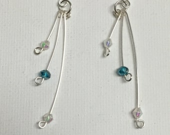 Crystal Silver Triple Wire Danging Earrings