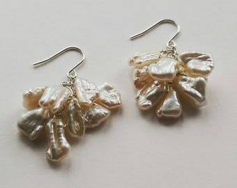 925 Sterling Silver Ballerina Petal Pearl Cluster Earrings - Bridal Beauty, Classic Elegance, Timeless