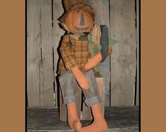 Primitive Folk Art Pumpkin scarecrow jack o lantern instant download pattern HAFAIR OFG haguild faap 227